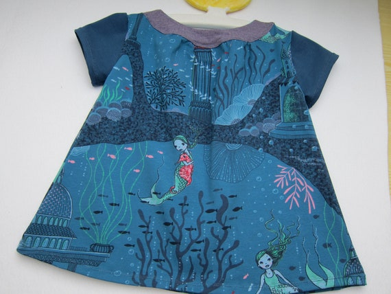Ecological toddler's Jersey dress mermaid design size 104 4-5 years