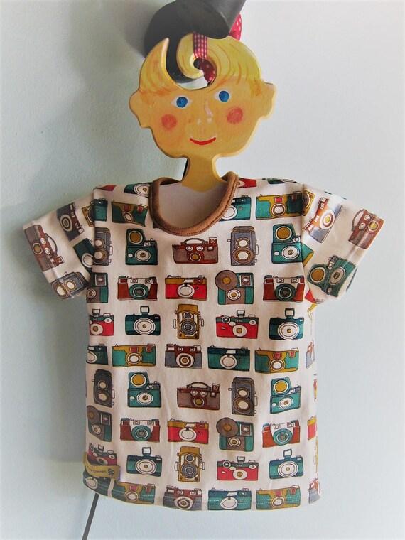 Whimsical Camera Baby t-shirt,  Bio shirt baby top- 68cm, 6 Mo, holidays
