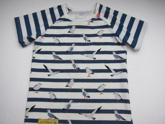 Reserved: Marine see gulls baby t-shirt,  Bio shirt baby top- 62-68 cm, 3-6 Mo, holiday tee