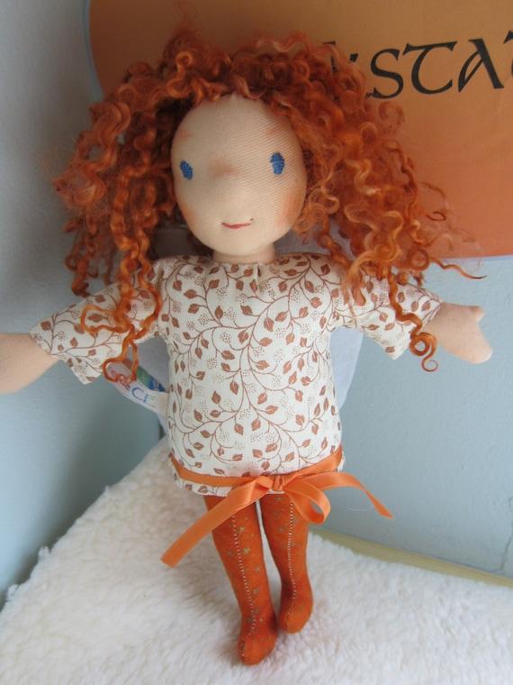 Guardian Angel Selaphiel Angel-Mood doll, doll  white felt wings, handmade, Christmas, baptism, baby shower, Get-well doll, Waldorf 10 in