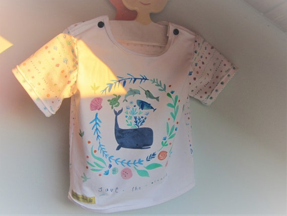 Save the Oceans baby t-shirt,  Bio shirt baby top- European 98 US 3, whale and maritime motive  short arm tee toddler's Top