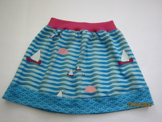 Baby girl skirt, summer skirt, skirt, blue see with sails skirt, summer sunset, size 5 (104)