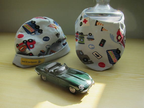 Baby set  Beanie with cars and trucks motiv, jersey cap and scarf
