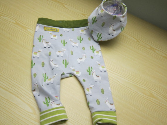 I love Alpacas Baby Bloomers  ecopants with reversible bib set  Made to order