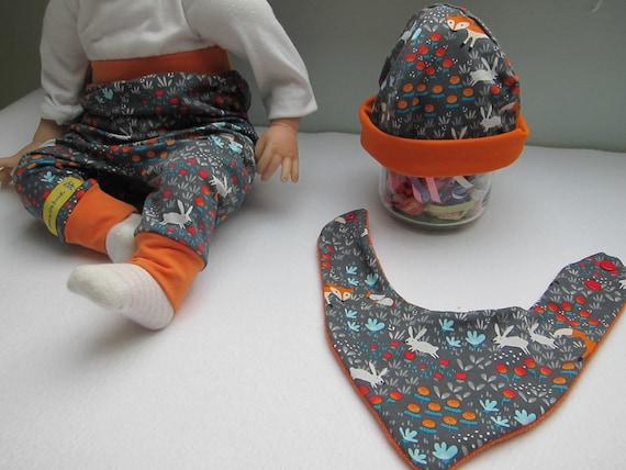 Newborn Baby set with beanie and reversible bib Fox and rabbit pants,   newborn