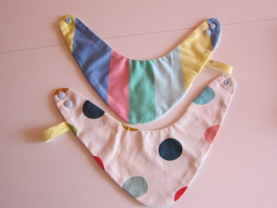 Reversible pastel dotted striped bib for babies and children, Bees on the Bonnet design,
