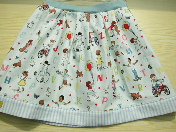 Girl's green skirt School Time ABC size 8-9, Playing Children cotton skirt