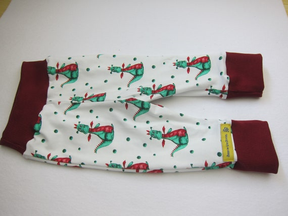Baby Bloomers in happy  dragon pants with reversible bib set, dragon motive, US  6-12 mo