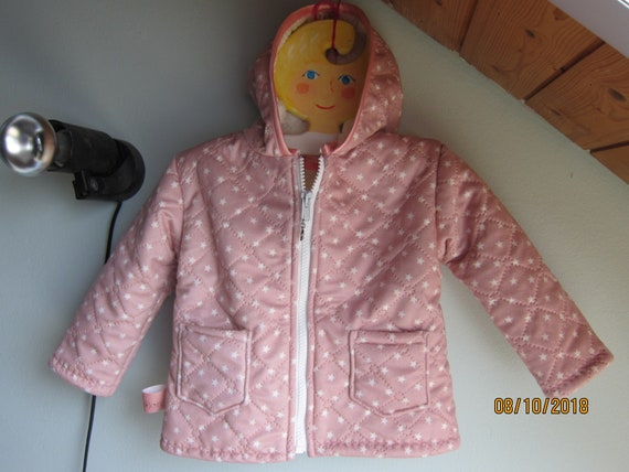 Baby Girl Winter Jacket, Quilted Baby Girl Jacket with hood in pink with stars, size 2T