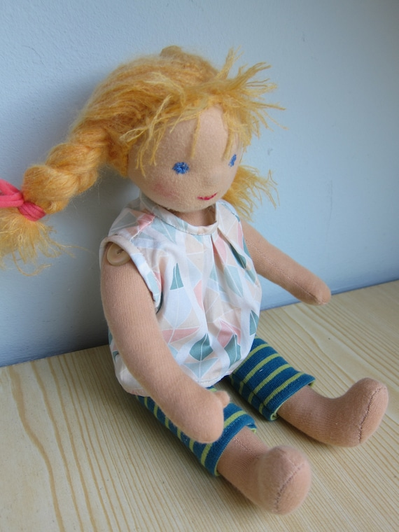 Soft Fabric Doll, Baby Doll Vivi with blond braids, movable legs, Waldorf inspired, sweet sommer doll
