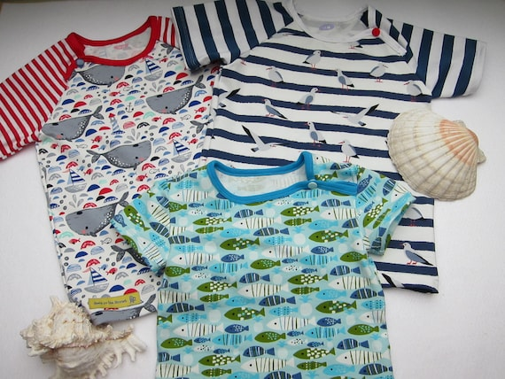 Whimsical Marine Kids t-shirt,  Bio shirt children's top- 98 cm, US 4, two variations