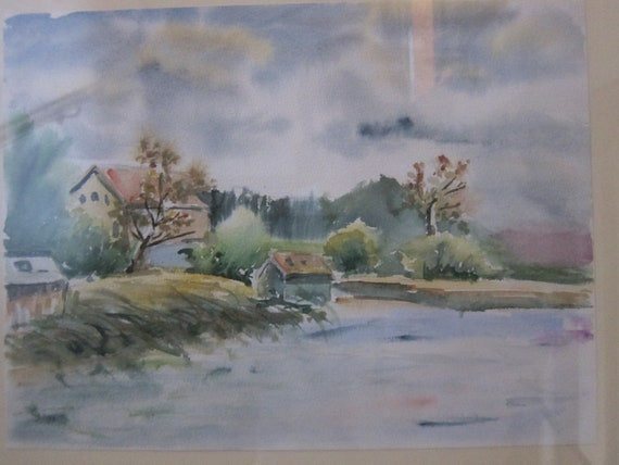 Aquarell painting, Meditative See Landscape: On the sea coast Original Landscape