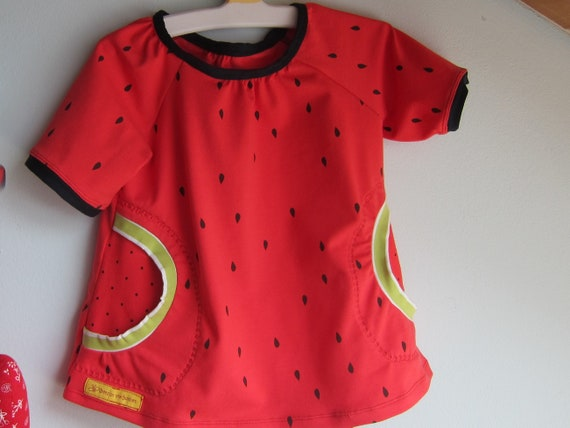 Ecological toddler's Jersey dress melon look design size 86 mo, 1-2T
