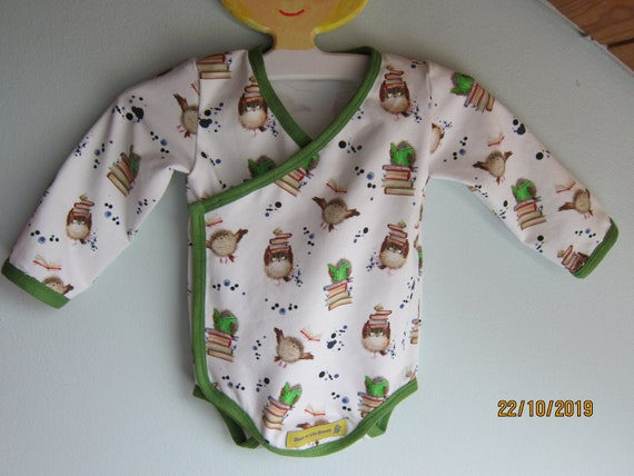 Long sleeved Baby Body with crazy owls with books organic Jersey size: 6 Mo, Autumn, Body suit, baby suit, onsie
