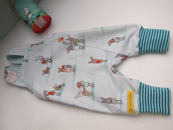 Easter bunny rompers in size 3 mo, (EU56) ecological sweat fabric, Birch fabric Easter Rabbit for Baby rompers