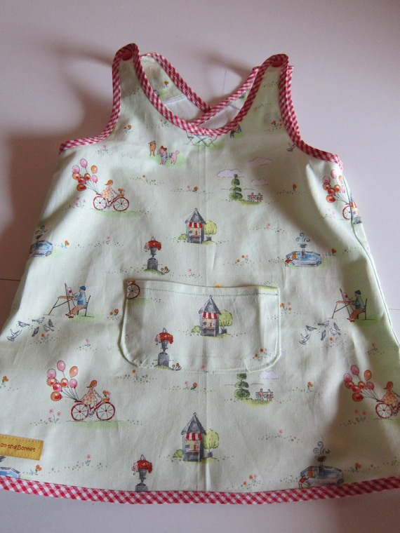Sweet Apron dress, pinafore in organic cotton dress for Girls US size 18-24 mo, Size 86, dress with Pariser Boulevard, Park , Day care