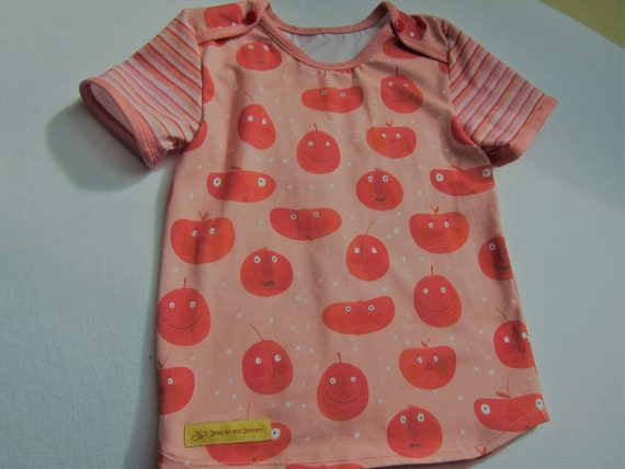 Baby t-shirt Peach Boys with peach faces in peach orange eco Lillestoff Jersey size 2 y or to order, Cheeky Veggies