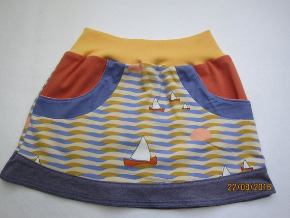 Baby, girl's skirt, summer skirt, eco skirt, see with sails skirt, summer sunset, Order size
