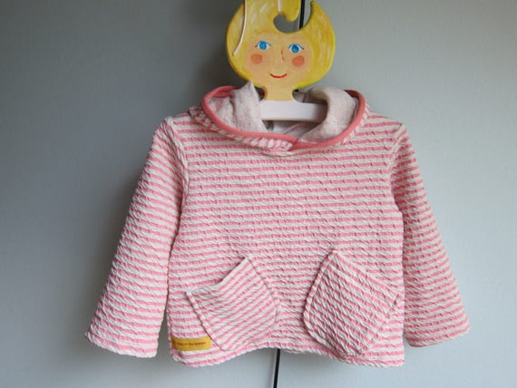 Baby  Sweatshirt with Hood, Hoodie with Bio Jersey, Doubleface Jacquard Jersey, pink / cream striped 4-5 mm breit. Made to order