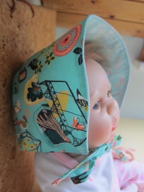 Reversable Baby turquoise sun bonnet,  Bee on the Bonnet , Child's Sunhat  3-6 Mo