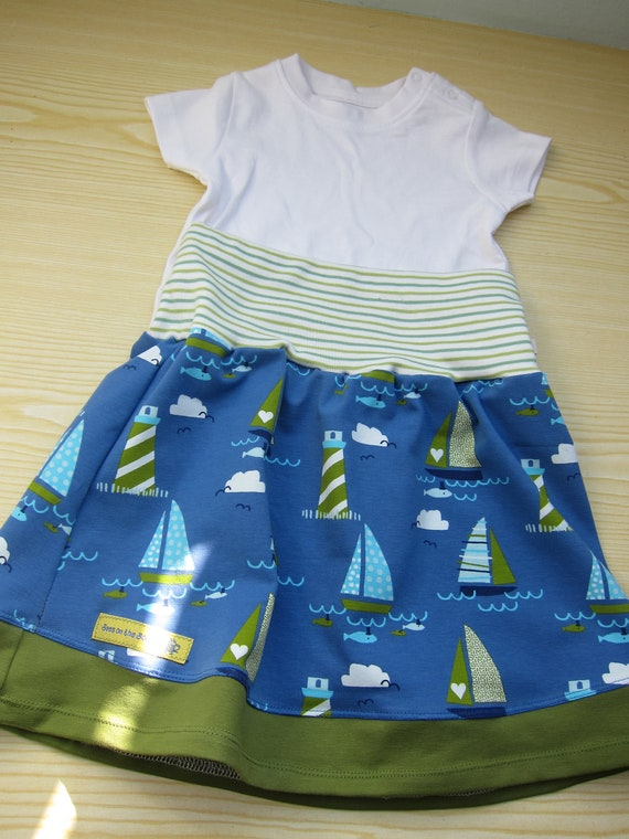 Baby girl  jersey skirt, Jolly boat, summer skirt, skirt, sail boats skirt, summer Starnberger see, size 6-7 (Eur 116)