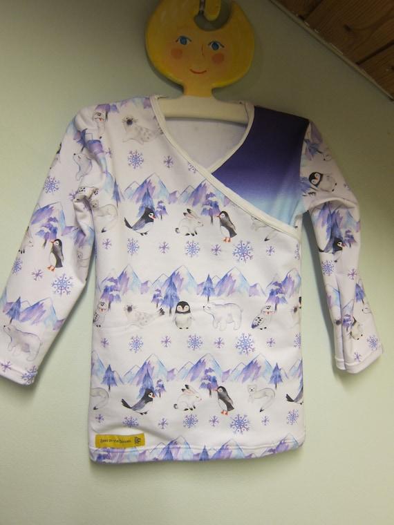 Organic baby long sleeved Tee, North cap motive, t- shirt in wrap optic, ORGANIC newborn long sleeve- organic infant Size 2-3
