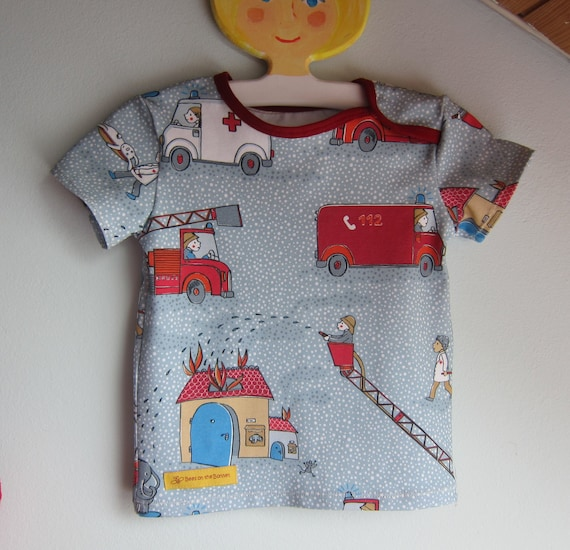 Whimsical Firebrigade kid's t-shirt,  Bio shirt baby top  74cm, 9-12 mo, first responder