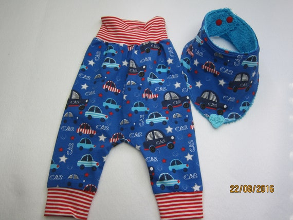 Baby Bloomers pants with reversible bib set, cars, Handmade, Made to Order,