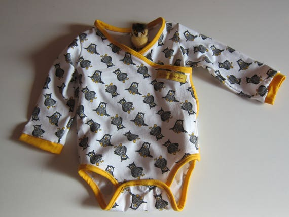 Long arm Baby Body Wrap in Owl fever, organic Jersey size: 3-6 Mo, Halloween