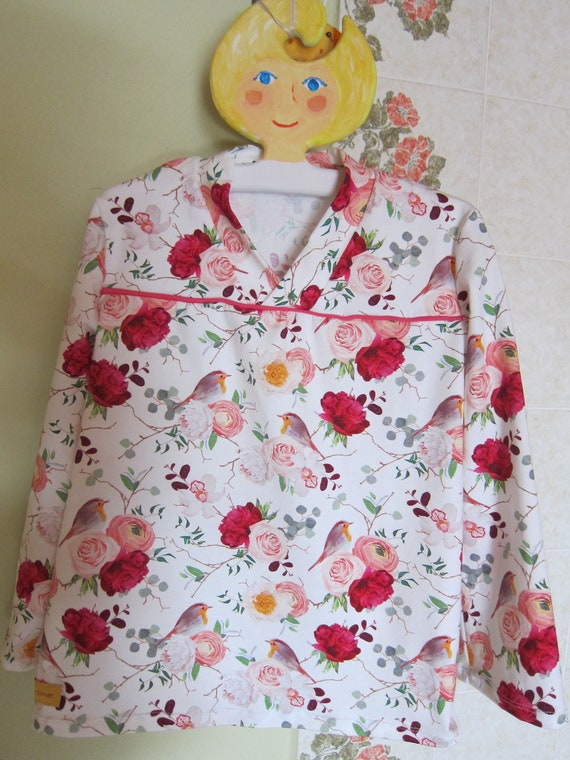 Romantic baby kimono tunica, Roses and Red Breasts, t- shirt dress, ORGANIC newborn long sleeve- organic  US Size 5 or 104