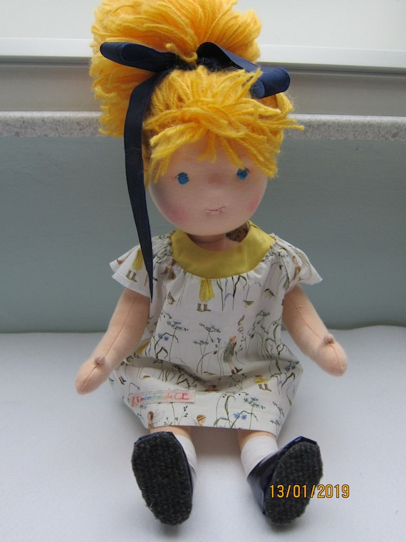 Partner Look  doll Mimi with blond hair in  16 inches, OOAK, Waldorf inspired,