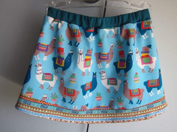 Baby girl alpacas jersey skirt, summer skirt, skirt, I love alpacas! patterned skirt, size 6-7 (Eur 116)