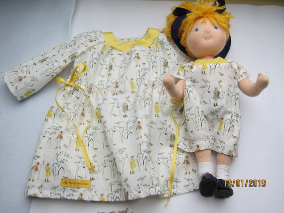 Girl's Spring long sleeve dress  with fairies, birds and grass,  US size 12 mo girl's entchantig spring dress in doll partner look