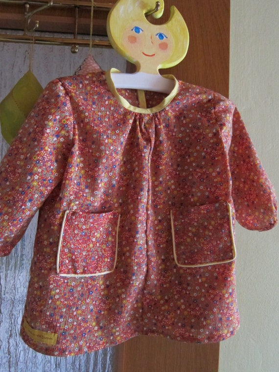 Red Millefleur crepe long slieeved blouse with pockets Girls US 18 mo