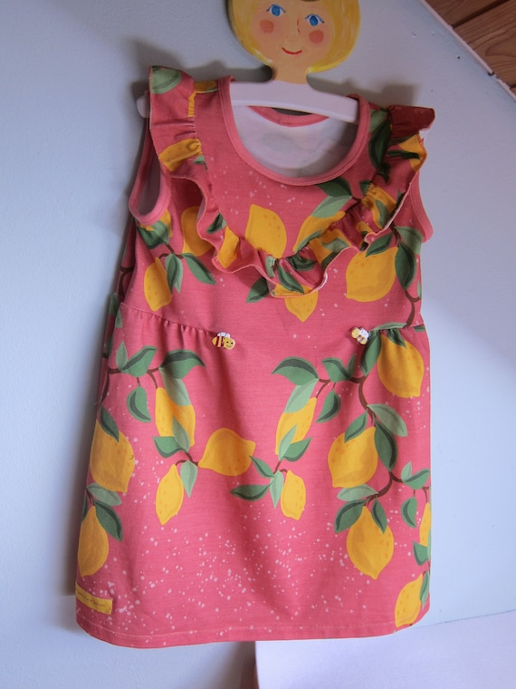 Sommer Jersey mediterranean charm dress with lemons, size 110 mo, 4-5 years