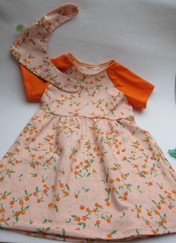 Girl's Spring jersey dress Italien motive of oranges  US size 4 years, girl's dress