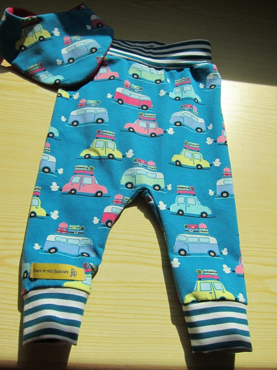 Baby Bloomers pants with reversible bib set in turquoise, Vacation cars, Size 1T