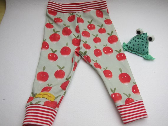 Crispy Radisch baby leggings with striped red cuffs leggings, in 3 mo size German 62-68 collection Checky Fruits!