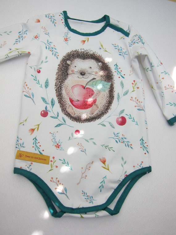 Longarm Baby Body Hedgehog organic Jersey size: 9-12 Mo, Autumn, Body suit, baby suit, onsie