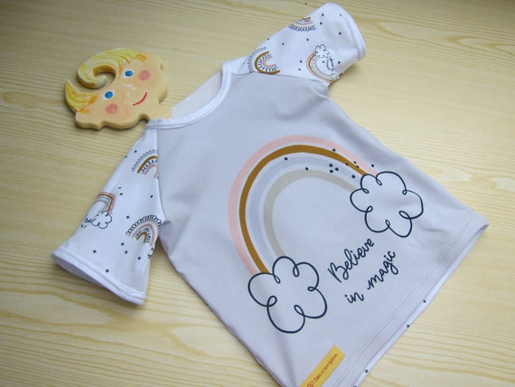 I believe in Magic baby t-shirt,  Bio shirt baby top- 92, rainbow in a cloud, short arm tee toddler's Top