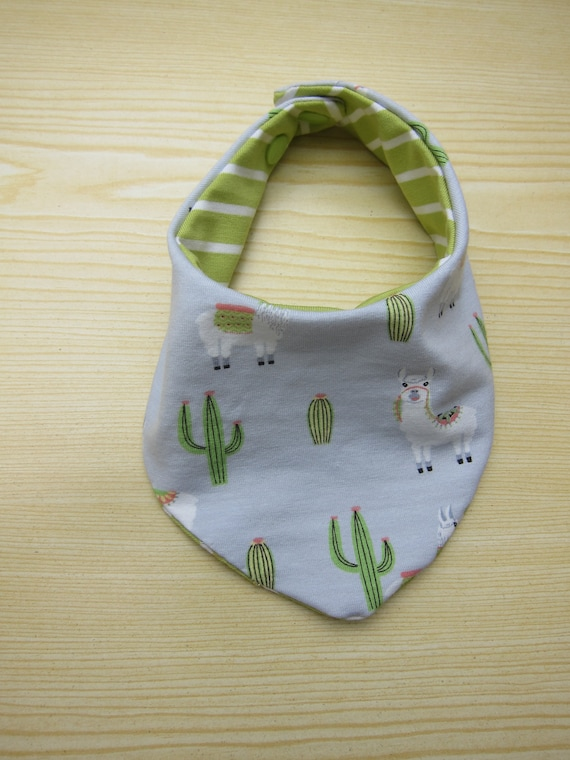 Reversible Llamas and cactuses bib for babies and toddlers  Drolling bib  gray green scarf  Bees on the Bonnet design,