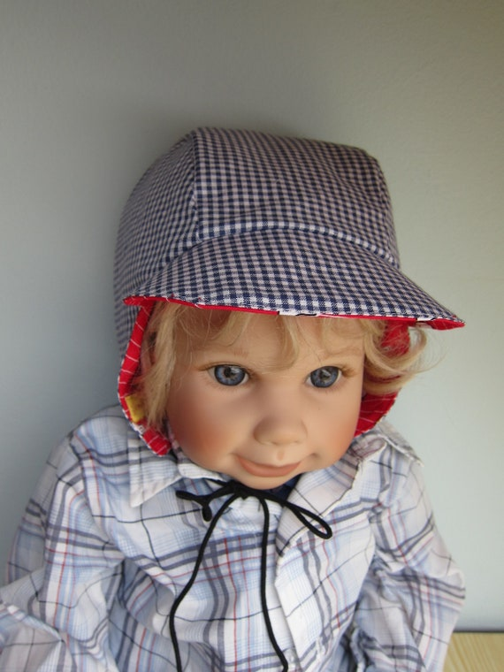 Reversible Bee on the Bonnet pilot's hat, Sun bonnet with see gulls in red or blue checkers, sun hat, vintage, Made to Order.