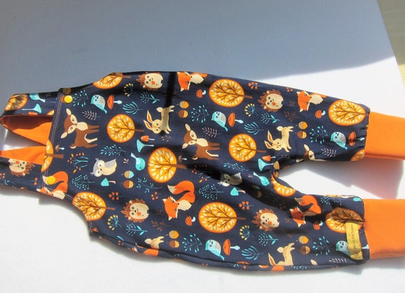 Ecological baby rompers in forest animals mushrooms and foxes, in navy and orange size 68/74, 9 mo