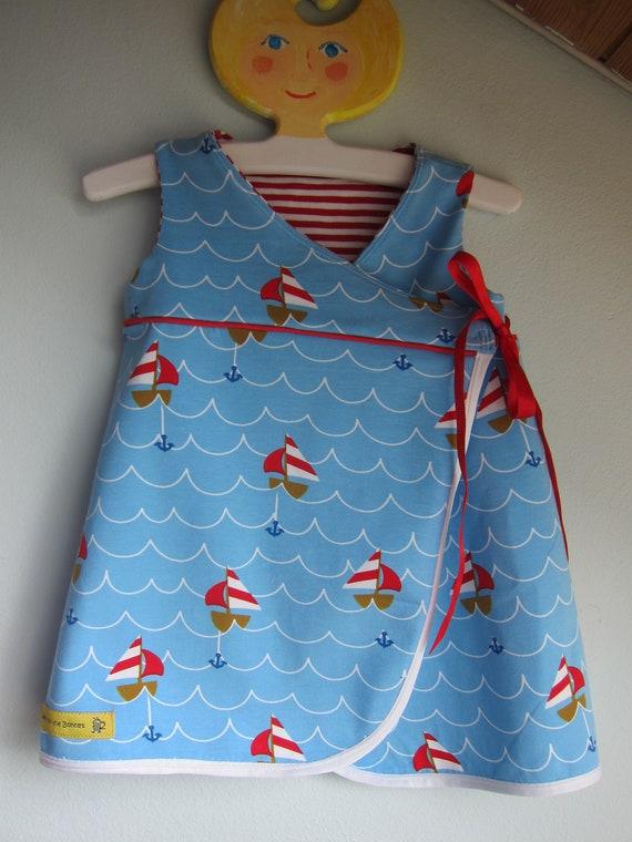 Blue Sailing Away reversible dress 3-6 mo, 56 cm girl's wrap dress, Boats dress