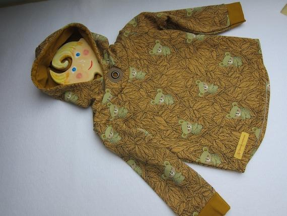 Autumn Baby Sweatshirt Pullover with hoody, Koala Bio Jersey in ocker colors. 2T-3T (EU 80-92)