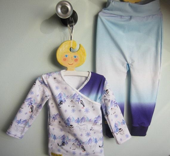 Organic baby  set long sleeved T-shirt with leggings, North cap motive, wrap optic, ORGANIC newborn long sleeve- organic infant Size 2-3