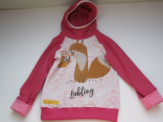Autumn Baby Jersey Pullover with Hood, darling Fox Hoody with Bio Jersey in pink colors. 2T (EU 86)