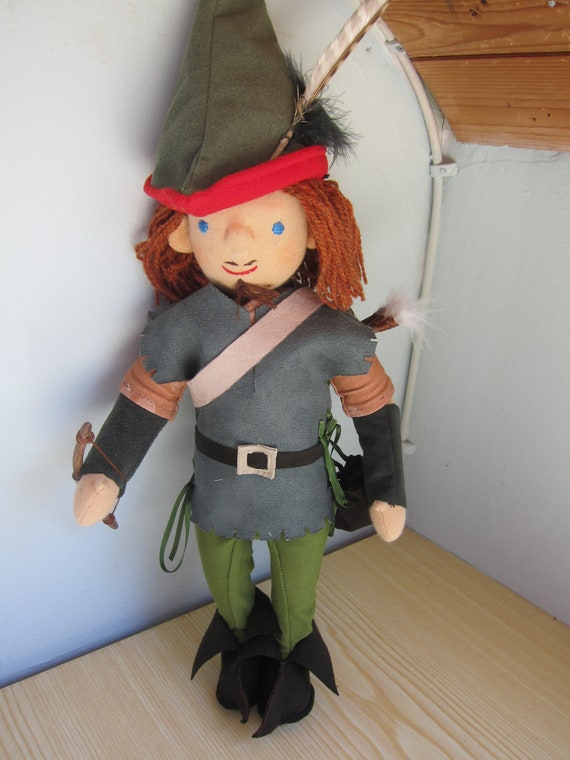 Robin Hood doll, Original Waldorf style, 16.5 inches, 42 cm English Legend boy's doll, Art doll, Middle Ages collector's item