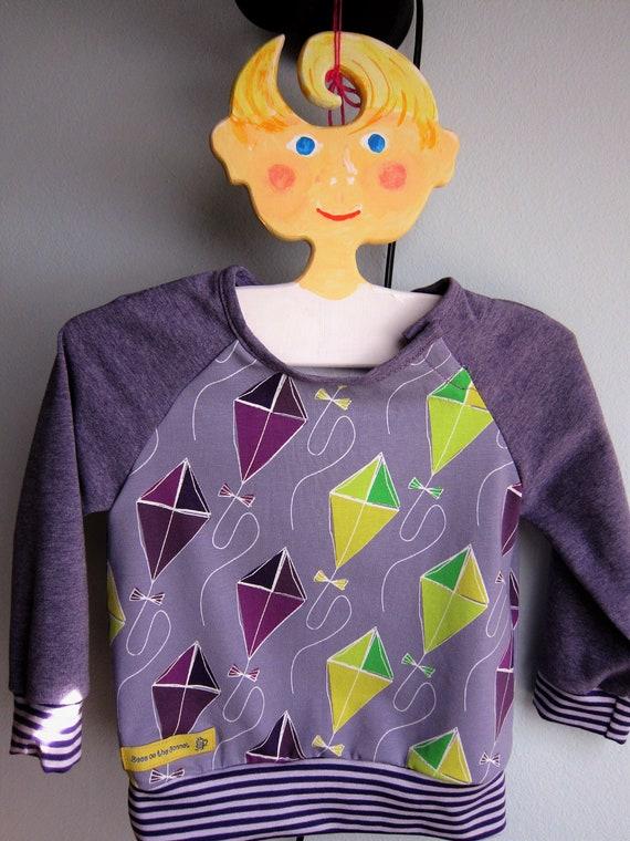 Whimsical Kites Baby long sleeve t-shirt,  Bio shirt baby top- 74cm, 9 Mo, Autumn