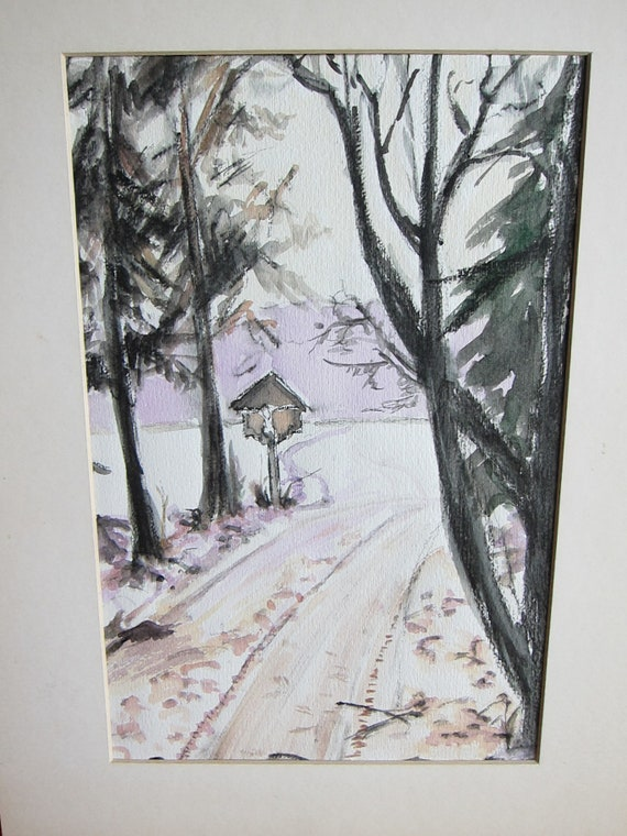 Aquarell painting, Cross near a forest path in Winter 9 x 7 inches
